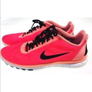 Neon Pink Orange Nike Free Sneakers SIze 9
